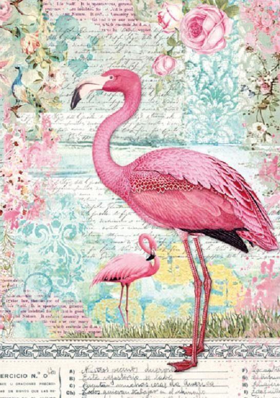 "Stamperia Motiv-Strohseide ""Flamingo"" DIN A4"
