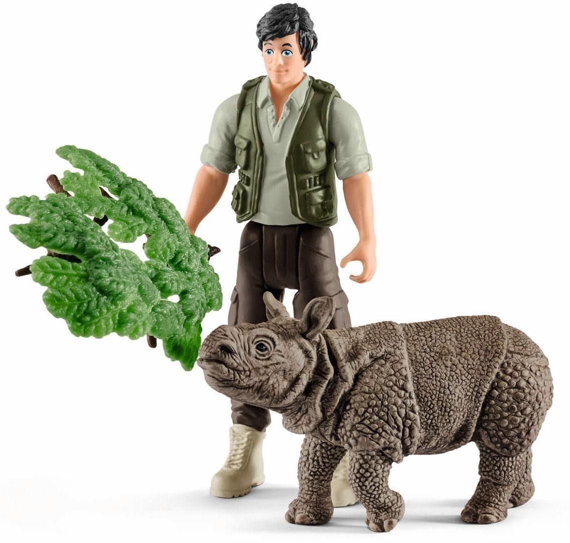 Schleich® Spielfigurenset (42428), »Wild Life, Ranger und Nashorn Starter-Set«