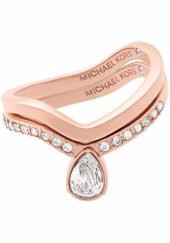 MICHAEL KORS Ring-Set »BRILLIANCE, MKJ7126791« (Set, 2 tlg.), mit Glassteinen - Preisvergleich