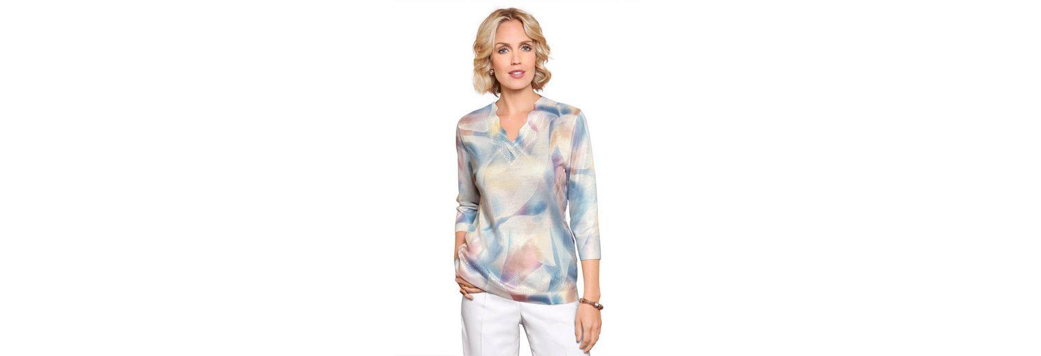 Atelier Goldner Schnitt 3/4 Arm-Pullover, mit gewelltem Ausschnitt