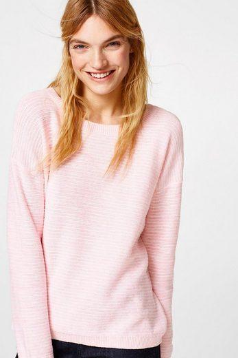 ESPRIT Pullover mit Schleife, 100% Baumwolle