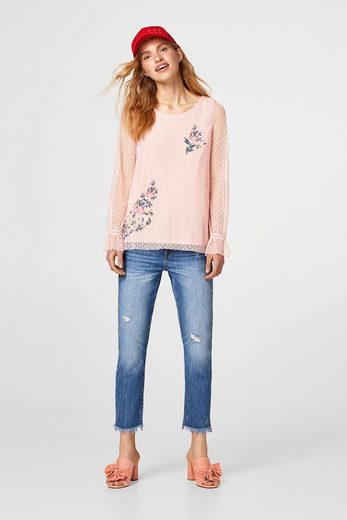 Edc By Esprit Blouse With Flower-embroidery