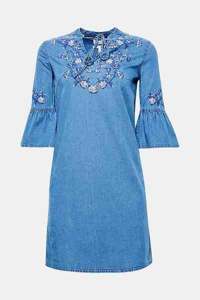 ESPRIT Floral besticktes Stretch-Jeanskleid