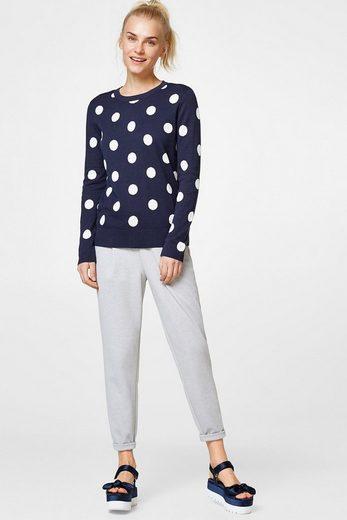 ESPRIT Pullover mit Polka-Dots, 100% Baumwolle
