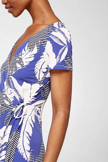 ESPRIT Jersey-Stretch-Kleid mit Wickeleffekt