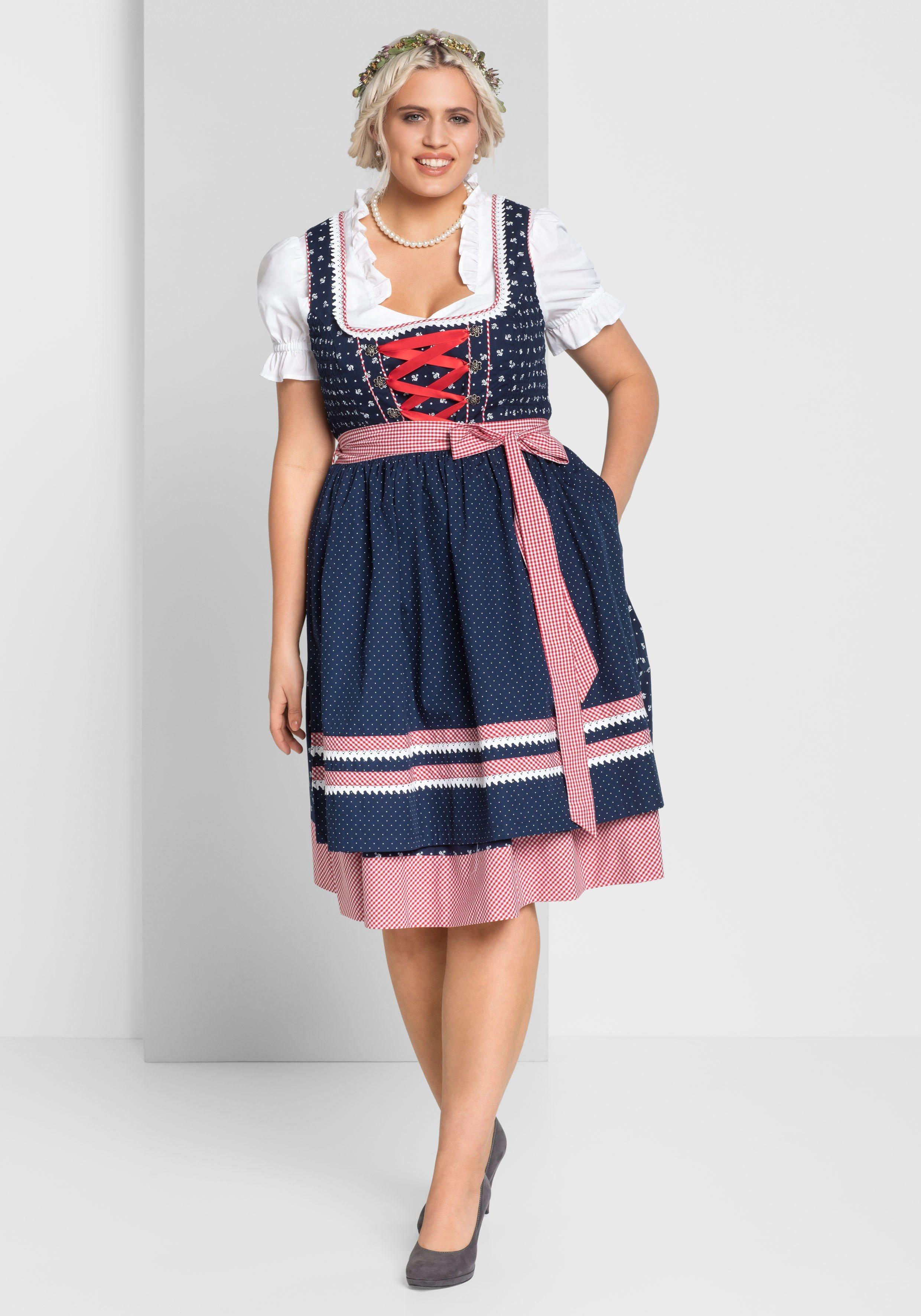 Damen sheego Style Dirndl, 3tlg.-Set blau, braun, rosa, schwarz   04054697537277