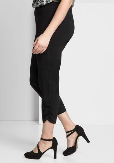 sheego Style 3/4-Hose, Raffung am Beinabschluss