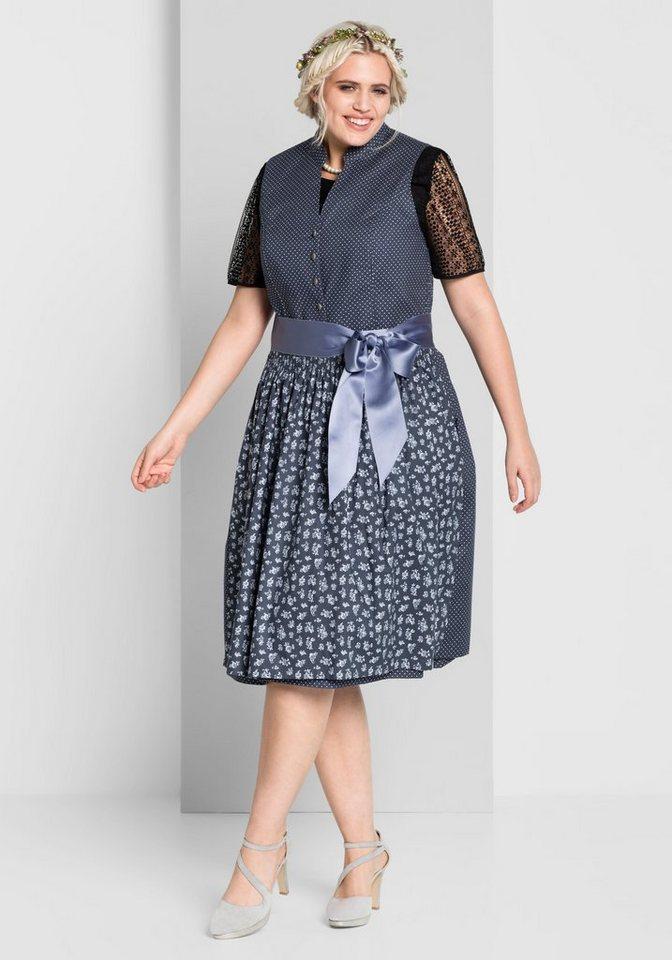 Damen sheego Style  Dirndl mit abknöpfbarer Schürze blau | 04054697557299