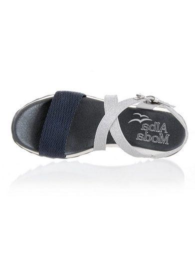 Alba Moda Sandalette mit Riemchen im Metallic-Look