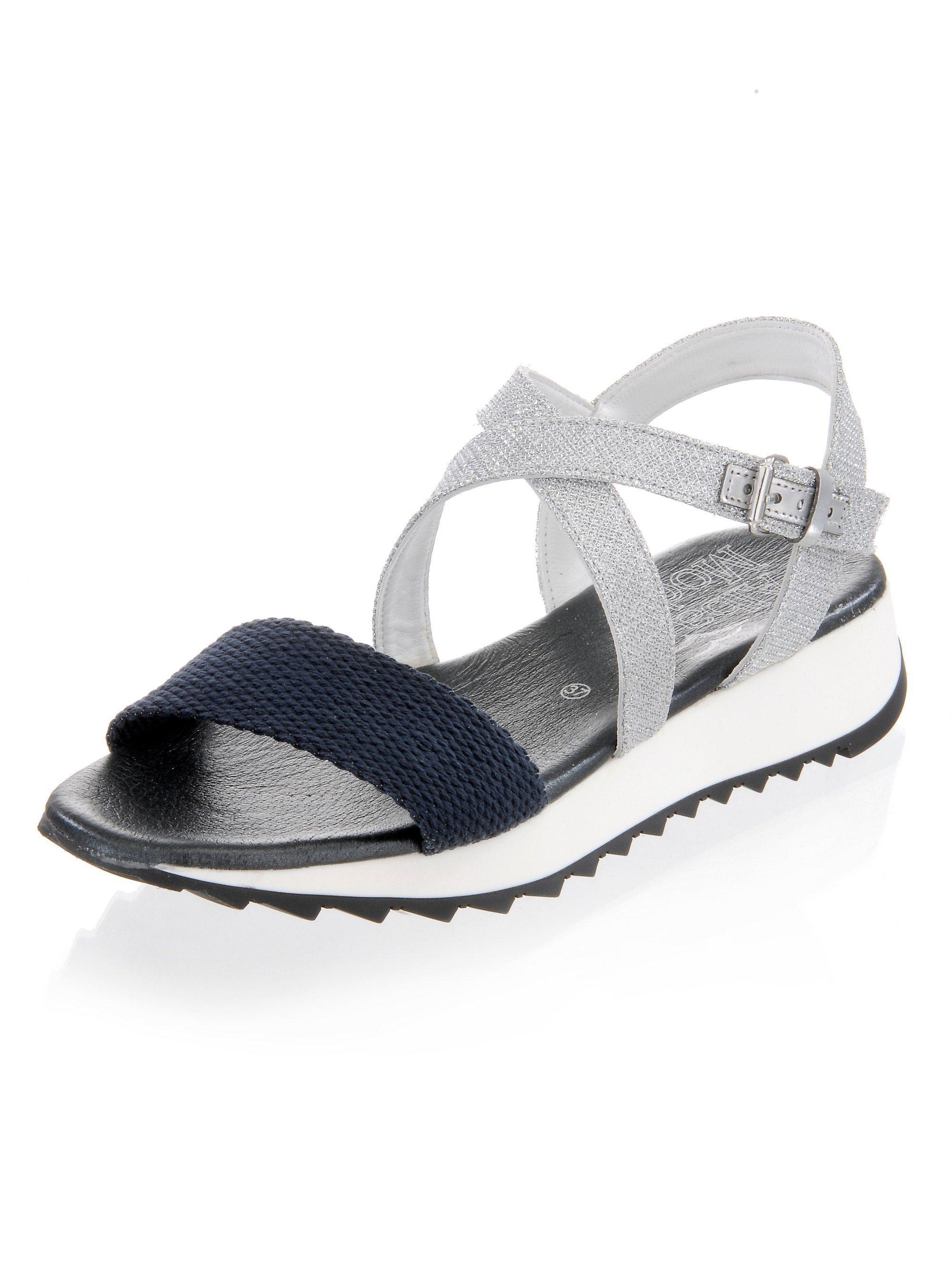 Alba Moda Sandalette mit Riemchen im Metallic-Look   Schuhe > Sandalen & Zehentrenner > Sandalen   Mehrfarbig   Gummi   Alba Moda