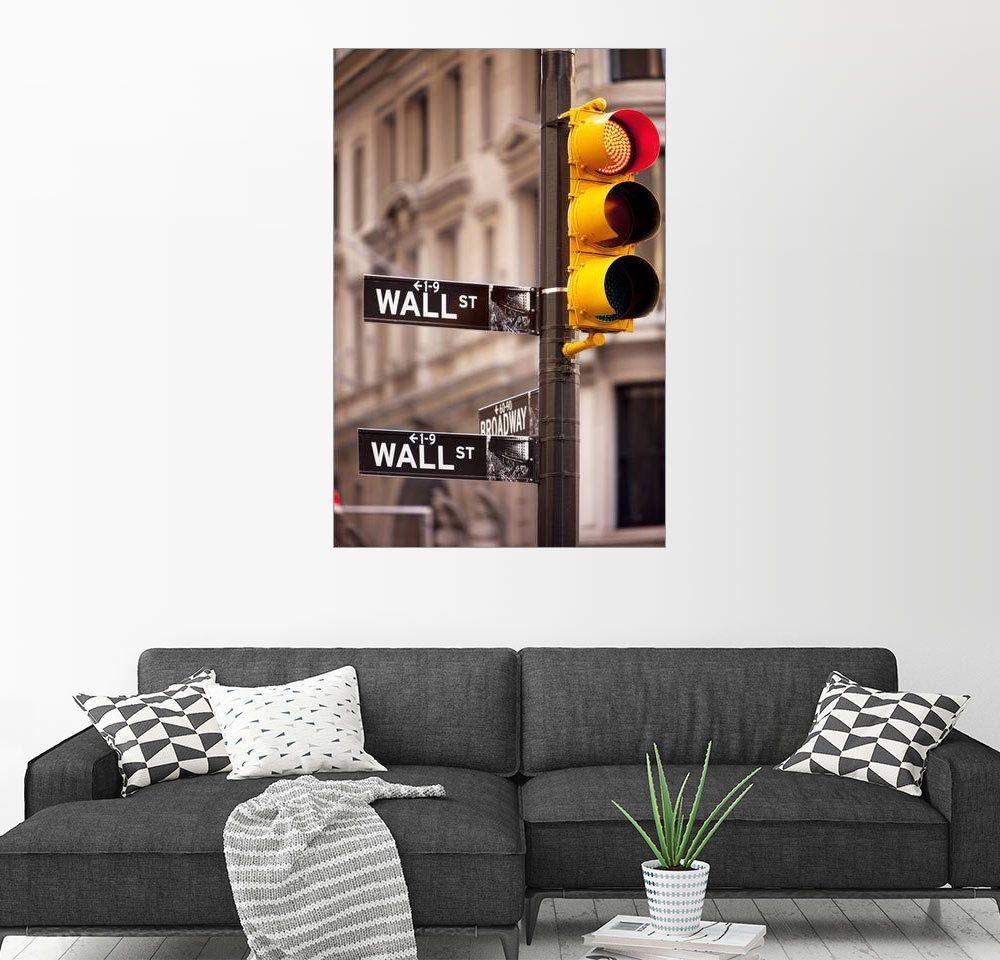 Posterlounge Wandbild - Brian Jannsen »Ampel an der Ecke Wall Street und Broadway in...«