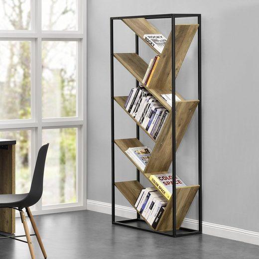 en.casa Bücherregal, »Bookly« Raumteiler 180x80x30cm Holz-Optik mit Stahlrahmen