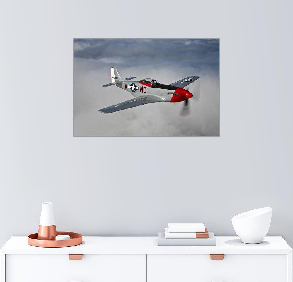 Posterlounge Wandbild - Scott Germain »Ein P-51D Mustang im Flug in der Nähe von Hol...«
