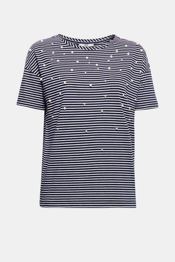 EDC BY ESPRIT Streifen T-Shirt mit Perlen-Besatz