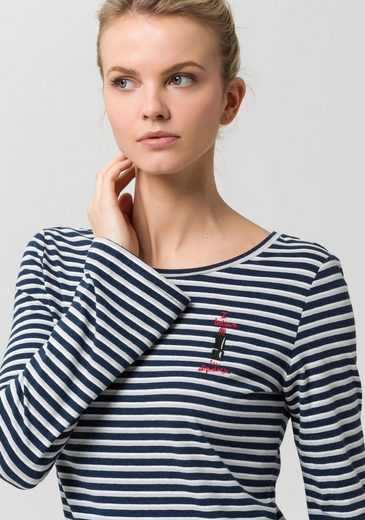 Edc By Esprit Langarmshirt, In Stripes Look With Embroidery