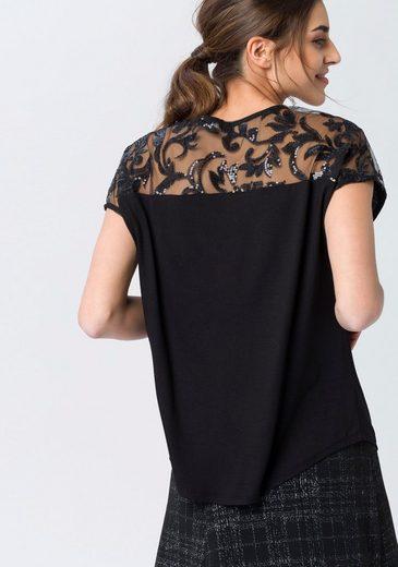 ESPRIT Collection T-Shirt, mit Pailletten und Mesheinsatz