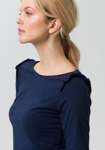 EDC by Esprit Langarmshirt, mit Rüschen im Schulterbereich