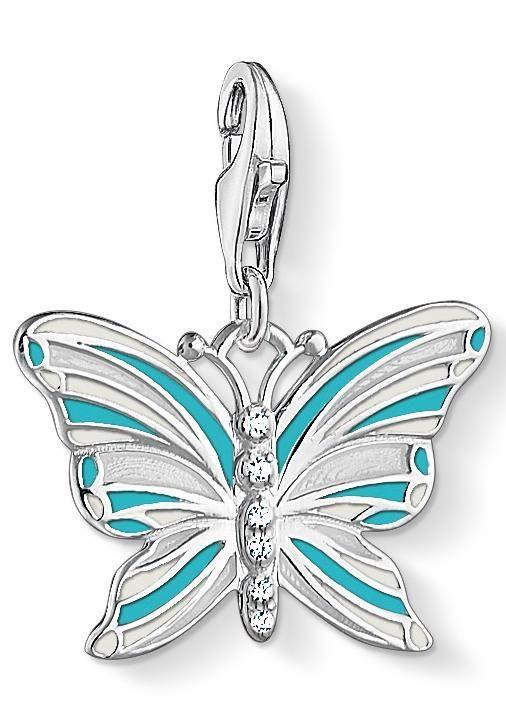 THOMAS SABO Charm-Einhänger »Schmetterling, 1515-041-17« mit Emaille und Zirkonia