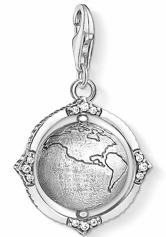 THOMAS SABO Charm-Einhänger »Vintage Weltkugel, 1676-643-14«, mit Zirkonia