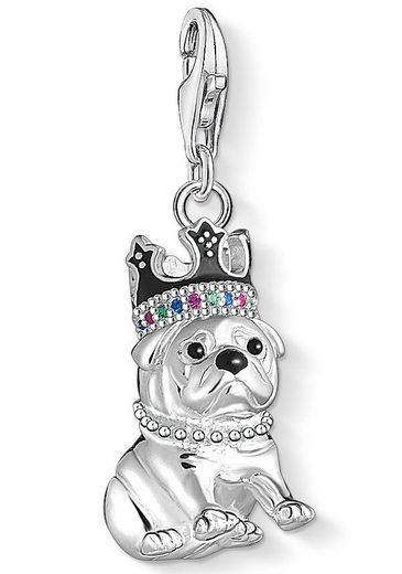 THOMAS SABO Charm-Einhänger »Bulldogge mit Krone, 1510-497-21« mit Emaille, Glas-Keramik Steinen, synth. Korund und synth. Spinell