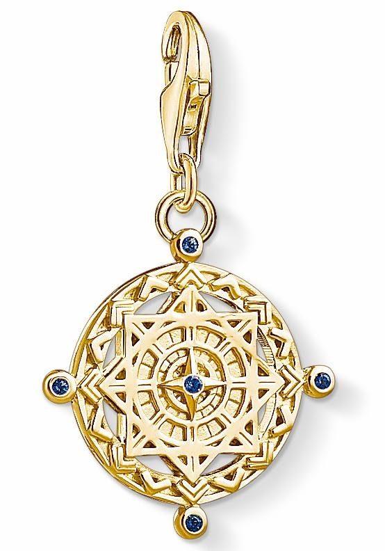 THOMAS SABO Charm-Einhänger »Vintage Kompass, 1662-922-39« mit synth. Spinell