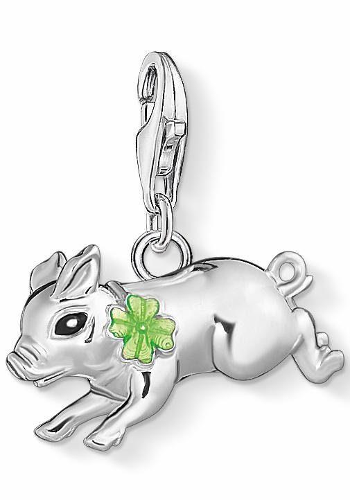 THOMAS SABO Charm-Einhänger »Schweinchen mit Kleeblatt« mit Emaille