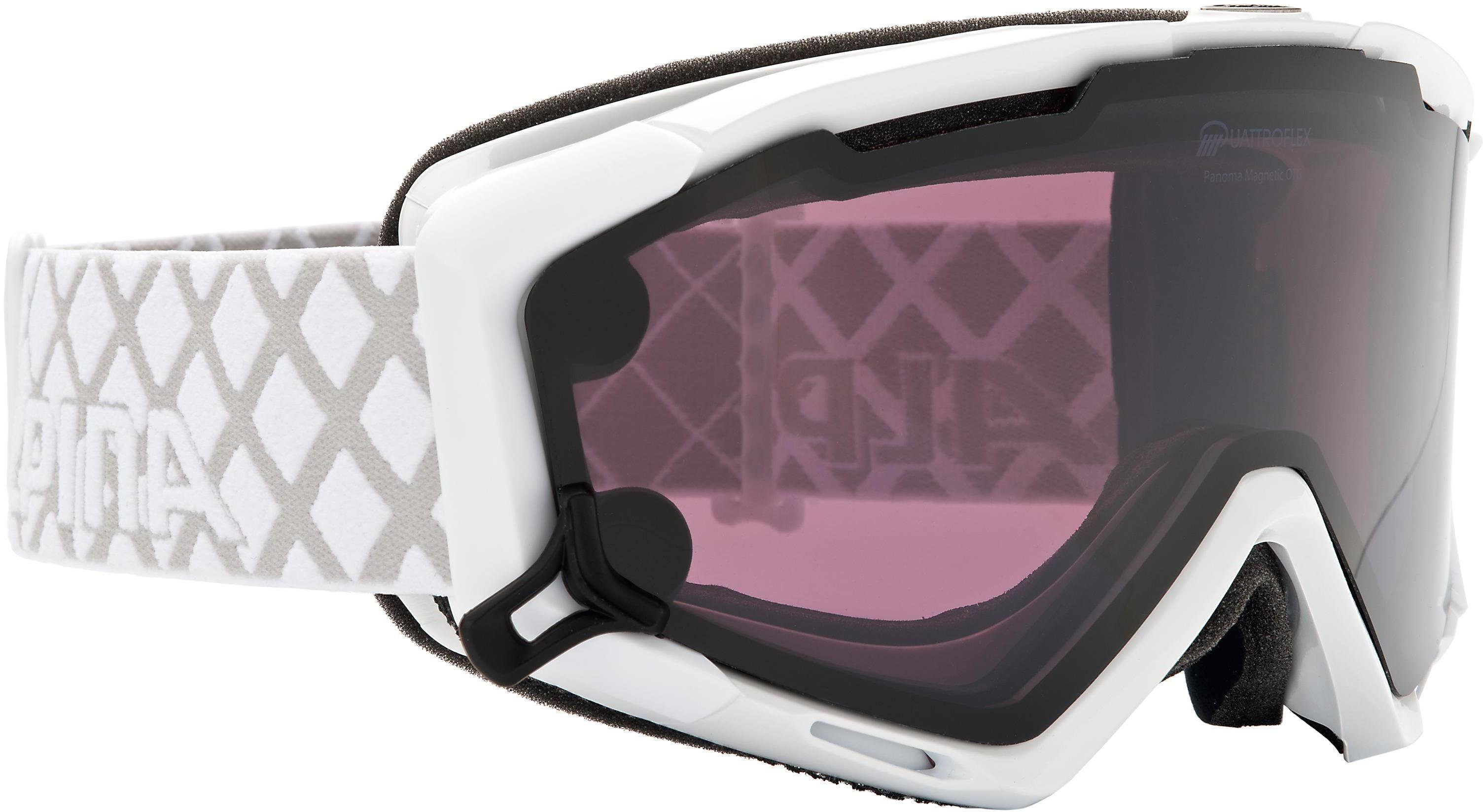 Skibrille, weiss, Alpina, »Panoma Magnetic«, Made in Germany