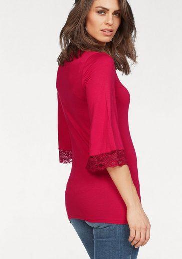 Laura Scott 3/4-Arm-Shirt, mit Spitzenbesatz
