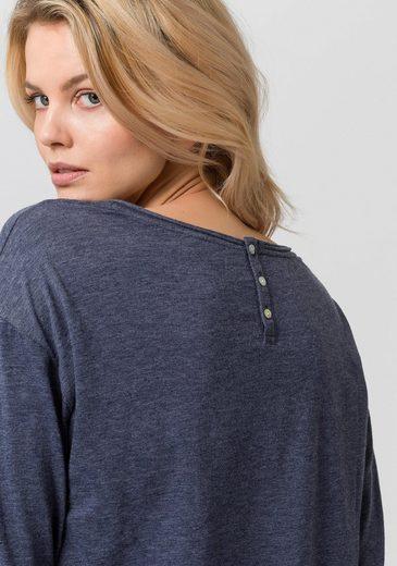 ESPRIT Langarmshirt, mit kurzer Knopfleiste hinten