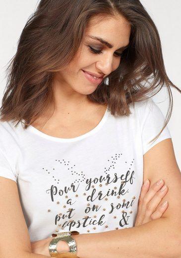 Laura Scott T-Shirt, mit Statement Print und Zierperlen