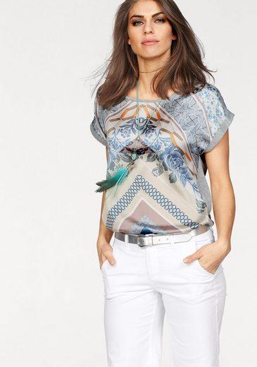 Laura Scott Rundhalsshirt, mit bedruckten Satineinsatz im Vorderteil