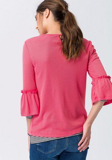 ESPRIT 3/4-Arm-Shirt, mit Trompetenärmeln und Rückendetail