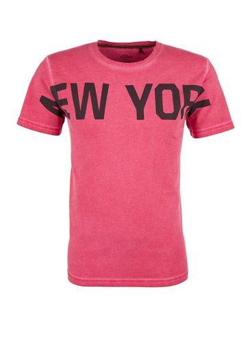 S.oliver Red Label Pigment Dye-shirt Mit Wording