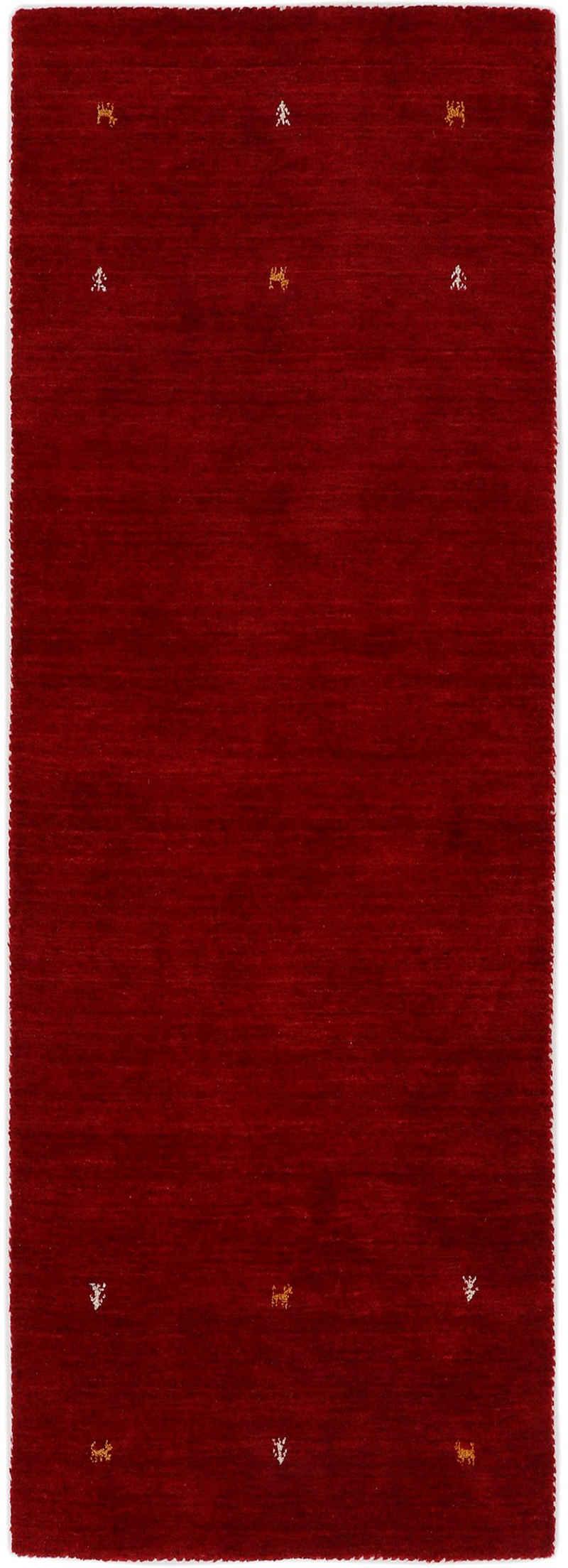 Läufer »Gabbeh Uni«, carpetfine, rechteckig, Höhe 15 mm, reine Wolle, handgewebt, Gabbeh Tiermotiv