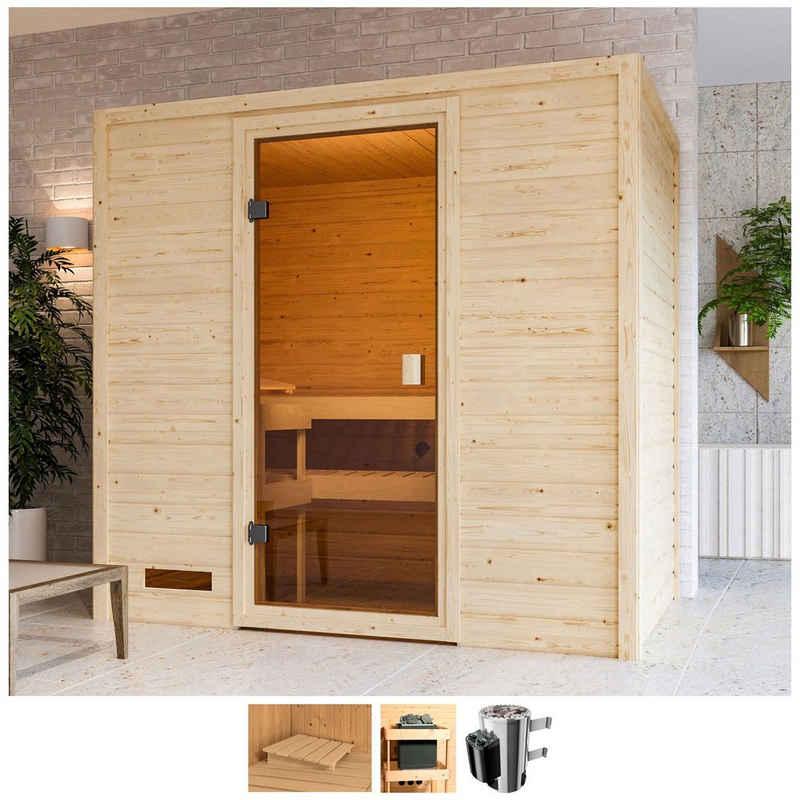 Karibu Sauna »Sunie«, BxTxH: 195 x 145 x 187 cm, 38 mm, 3,6-kW-Plug & Play Ofen mit int. Steuerung