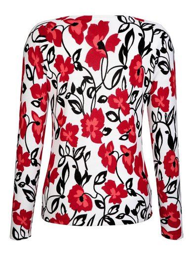 Alba Moda Druckpullover mit farbintensivem Blumen-Druck