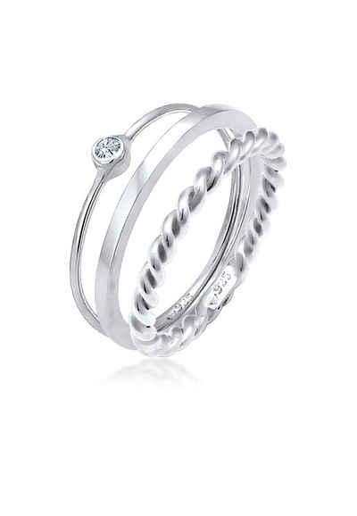 Elli Solitärring »Ring Set mit Swarovski® Kristalle 925 Silber«