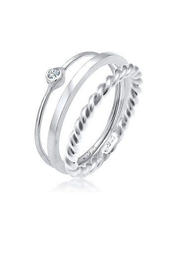 Elli Solitärring »Ring-Set mit Swarovski® Kristalle 925 Silber«