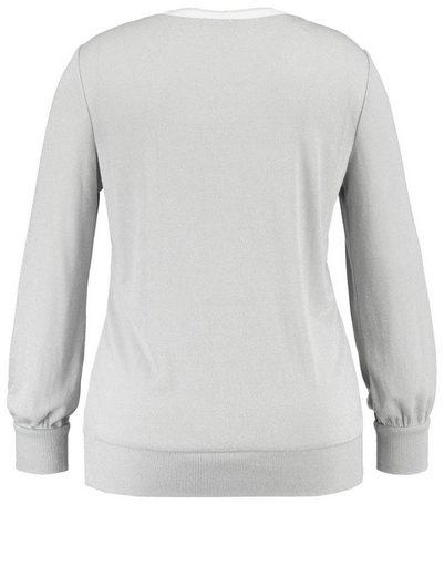 Samoon T-Shirt Langarm Rundhals Pullover mit Glitzer-Effekt