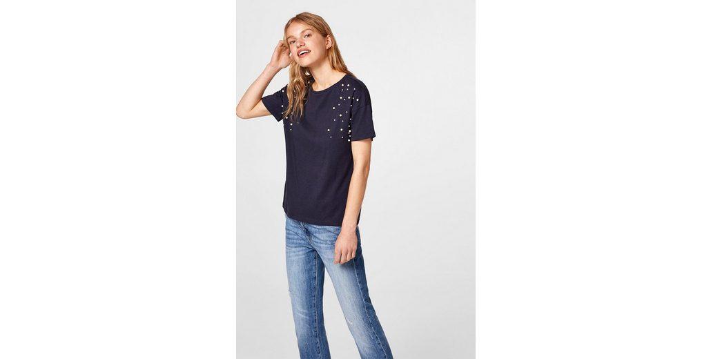 Günstig Kaufen Neuesten Kollektionen Neue Ankunft Art Und Weise EDC BY ESPRIT Perlen-T-Shirt aus 100% Baumwolle Frei Für Verkauf Rabatt Sammlungen 2018 Neuer Günstiger Preis 5caI4Z