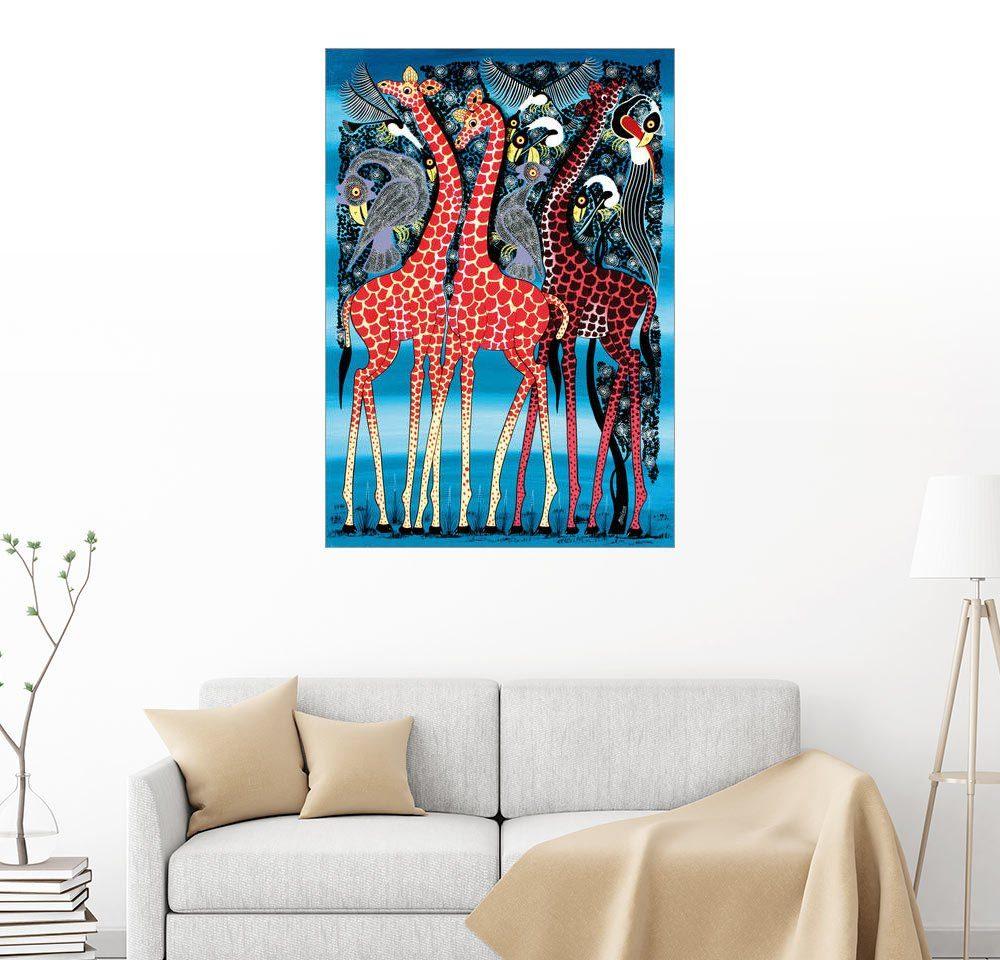 Posterlounge Wandbild - Maulana »Giraffen bei Nacht«