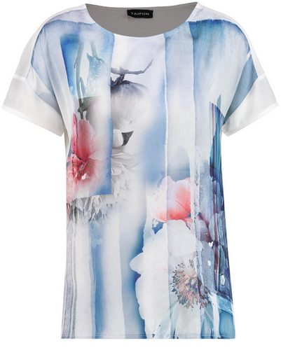 Taifun T-Shirt Kurzarm Rundhals Shirt mit Satin-Front