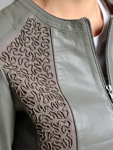 Alba Moda Lederjacke mit edlem Muster im Vorderteil