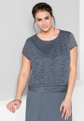 Damen sheego Style Tunika mit festlicher Spitze blau | 04054697888867