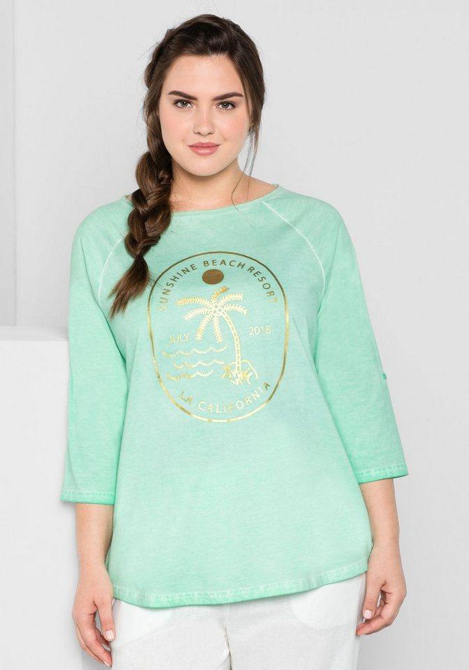 sheego Casual Longshirt in Oil-Washed-Optik, jedes Teil ein Unikat | Bekleidung > Shirts > Longshirts | Grün | sheego Casual