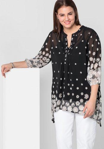 Damen sheego Style Tunika mit Schmucksteinen schwarz | 04054697886115