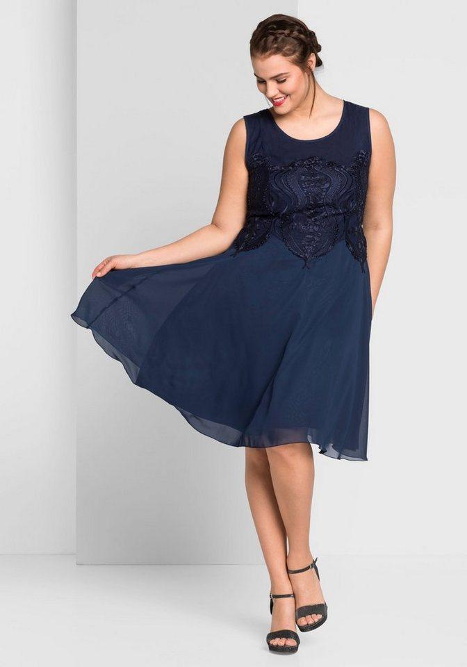 Sheego Partykleid mit leicht ausgestelltem Rockteil | Bekleidung > Kleider > Partykleider | Blau | Sheego