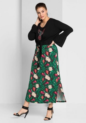 Sheego Style Maxi Skirt Slit, With High