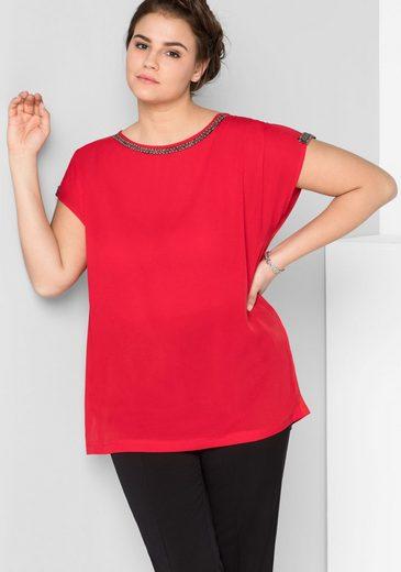 Sheego Blusenshirt mit leicht transparenten Schultern