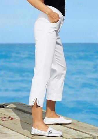 Ambria Hose mit dekorativer Nietenverzierung am Fußschlitz in weiß